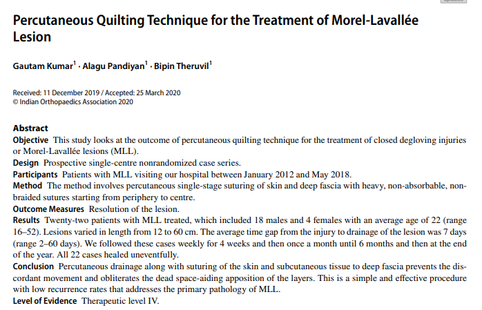 Percutaneous Quilting Technique for the Treatment of Morel‑Lavallée Lesion